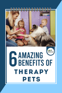 Teacher and 2 students interacting with a service dog at school with text overlay 6 Amazing Benefits of Therapy Pets