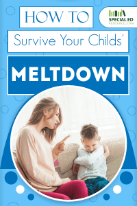 Mom scolding her son that is having a tantrum with text overlay How To Survive Your Child's Meltdown