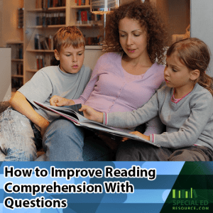 Mom reading with two kids at home with text overlay How to Improve Reading Comprehension With Questions