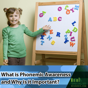 Little girl standing in front of a magnet board with alphabet letters with text overlay What is Phonemic Awareness and Why is it Important?