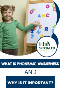 Young girl proud of her words she created with alphabet magnets on here magnet board with text overlay What is Phonemic Awareness and Why is it Important?