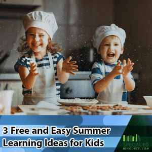 Boy and girl with chef hats having fun while helping cook in their kitchen just one of the 3 Free and Easy Summer Learning Ideas for Kids