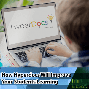 Elementary age boy sitting in front of a computer at home working on his Hyperdoc lesson for school. Read more on How Hyperdocs Will Improve Your Students Learning
