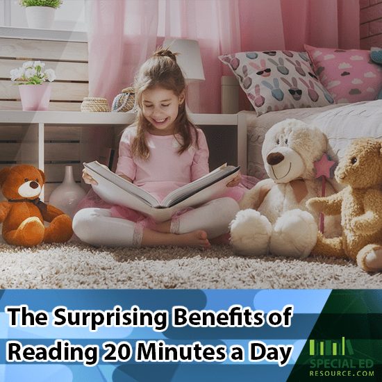 Young girl sitting in her bedroom reading a book to her stuffed animals the surprising benefits of reading 20 minutes a day.
