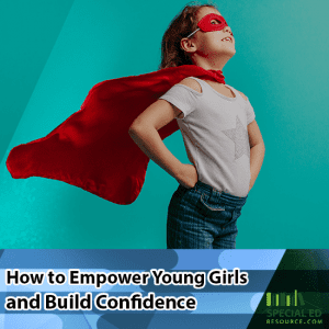 Young girl standing proud wearing a superhero cape and mask how to empower young girls and build confidence